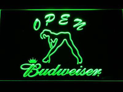 Budweiser Woman's Silhouette Open LED Neon Sign - Green - SafeSpecial