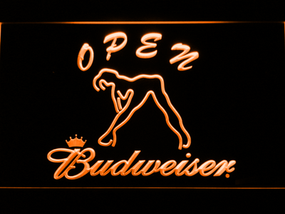 Budweiser Woman's Silhouette Open LED Neon Sign - Orange - SafeSpecial