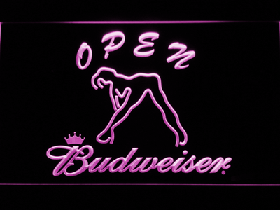 Budweiser Woman's Silhouette Open LED Neon Sign - Purple - SafeSpecial