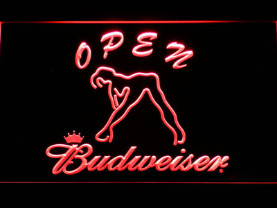 Budweiser Woman's Silhouette Open LED Neon Sign - Red - SafeSpecial