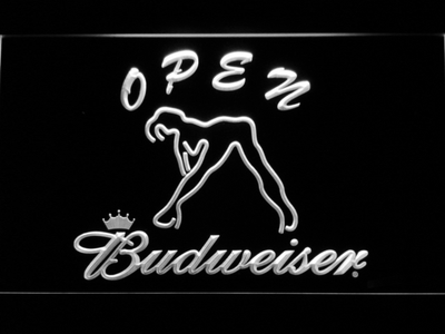 Budweiser Woman's Silhouette Open LED Neon Sign - White - SafeSpecial