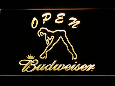 Budweiser Woman's Silhouette Open LED Neon Sign - Yellow - SafeSpecial
