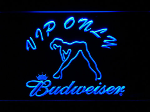 Image of Budweiser Woman's Silhouette VIP Only LED Neon Sign - Blue - SafeSpecial