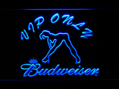 Budweiser Woman's Silhouette VIP Only LED Neon Sign - Blue - SafeSpecial