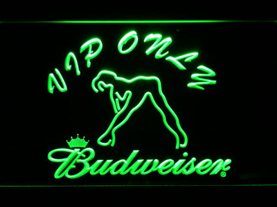 Budweiser Woman's Silhouette VIP Only LED Neon Sign - Green - SafeSpecial