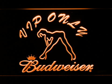 Image of Budweiser Woman's Silhouette VIP Only LED Neon Sign - Orange - SafeSpecial