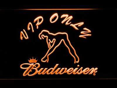 Budweiser Woman's Silhouette VIP Only LED Neon Sign - Orange - SafeSpecial