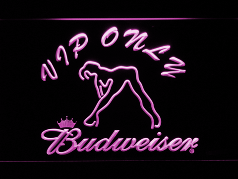 Image of Budweiser Woman's Silhouette VIP Only LED Neon Sign - Purple - SafeSpecial
