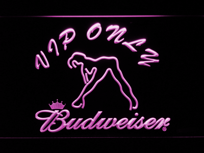 Budweiser Woman's Silhouette VIP Only LED Neon Sign - Purple - SafeSpecial
