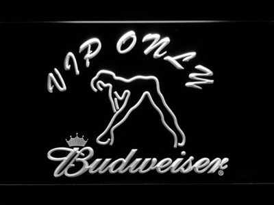 Budweiser Woman's Silhouette VIP Only LED Neon Sign - White - SafeSpecial
