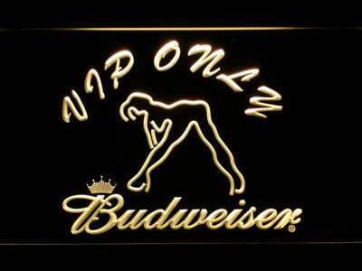 Budweiser Woman's Silhouette VIP Only LED Neon Sign - Yellow - SafeSpecial