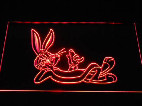 Image of Bugs Bunny Lounging LED Neon Sign - Red - SafeSpecial