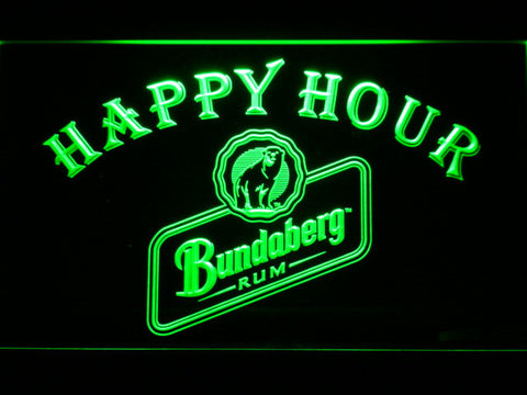 Bundaberg Rum Happy Hour LED Neon Sign - Green - SafeSpecial
