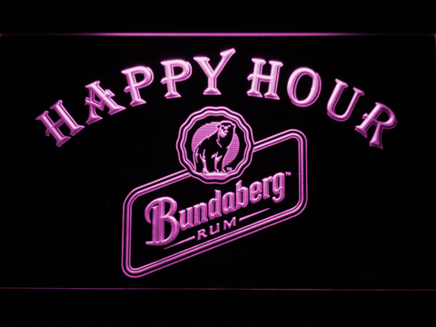 Bundaberg Rum Happy Hour LED Neon Sign - Purple - SafeSpecial