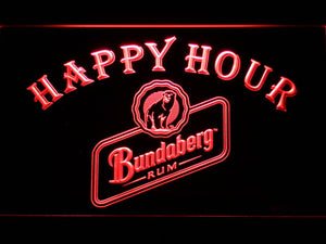 Bundaberg Rum Happy Hour LED Neon Sign - Red - SafeSpecial