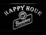Bundaberg Rum Happy Hour LED Neon Sign - White - SafeSpecial