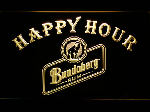 Bundaberg Rum Happy Hour LED Neon Sign - Yellow - SafeSpecial