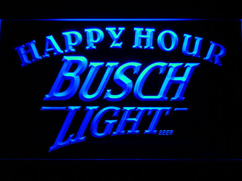 Busch Light Happy Hour LED Neon Sign - Blue - SafeSpecial