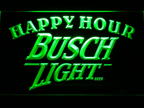 Busch Light Happy Hour LED Neon Sign - Green - SafeSpecial