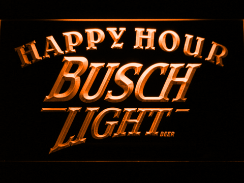 Busch Light Happy Hour LED Neon Sign - Orange - SafeSpecial