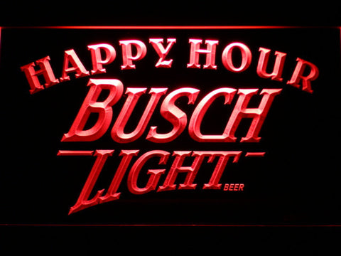 Busch Light Happy Hour LED Neon Sign - Red - SafeSpecial