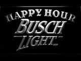 Busch Light Happy Hour LED Neon Sign - White - SafeSpecial