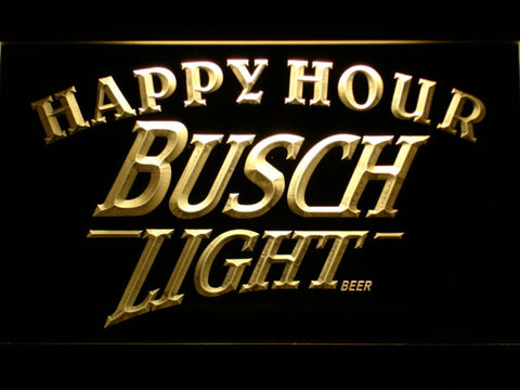 Busch Light Happy Hour LED Neon Sign - Yellow - SafeSpecial