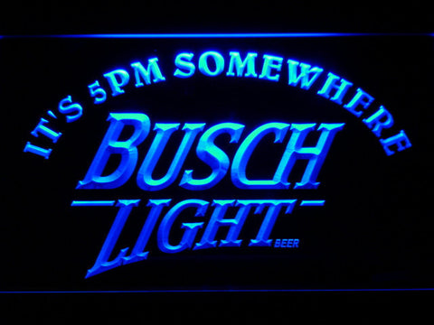 Busch Light It's 5pm Somewhere LED Neon Sign - Blue - SafeSpecial