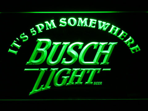 Busch Light It's 5pm Somewhere LED Neon Sign - Green - SafeSpecial
