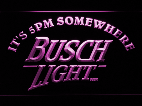 Busch Light It's 5pm Somewhere LED Neon Sign - Purple - SafeSpecial