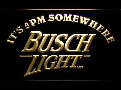 Busch Light It's 5pm Somewhere LED Neon Sign - Yellow - SafeSpecial