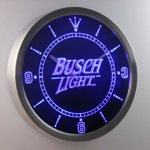 Busch Light LED Neon Wall Clock - Blue - SafeSpecial