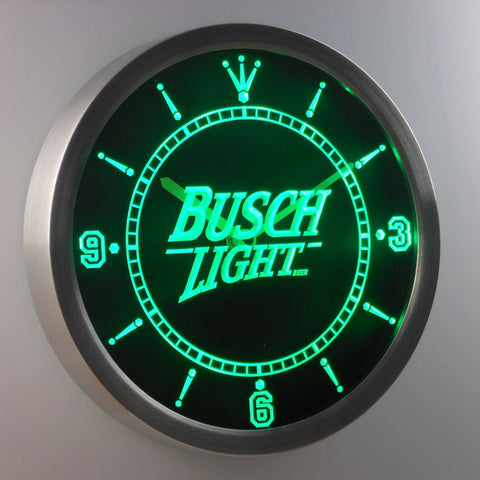 Busch Light LED Neon Wall Clock - Green - SafeSpecial
