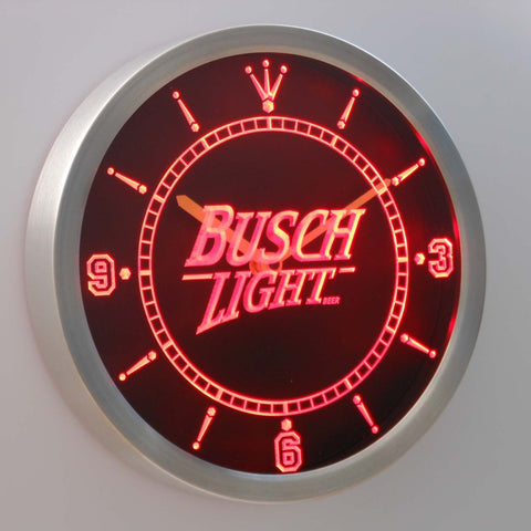 Busch Light LED Neon Wall Clock - Red - SafeSpecial
