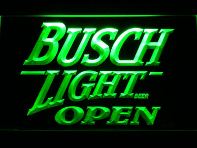 Busch Light Open LED Neon Sign - Green - SafeSpecial