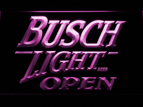 Busch Light Open LED Neon Sign - Purple - SafeSpecial