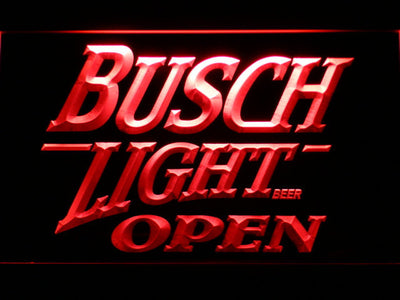 Busch Light Open LED Neon Sign - Red - SafeSpecial