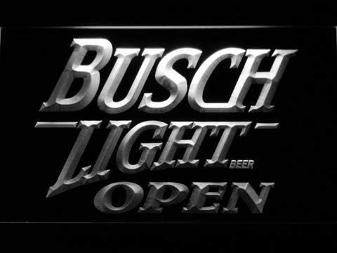 Image of Busch Light Open LED Neon Sign - White - SafeSpecial