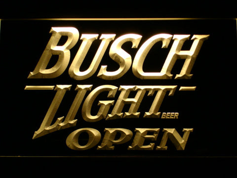 Image of Busch Light Open LED Neon Sign - Yellow - SafeSpecial