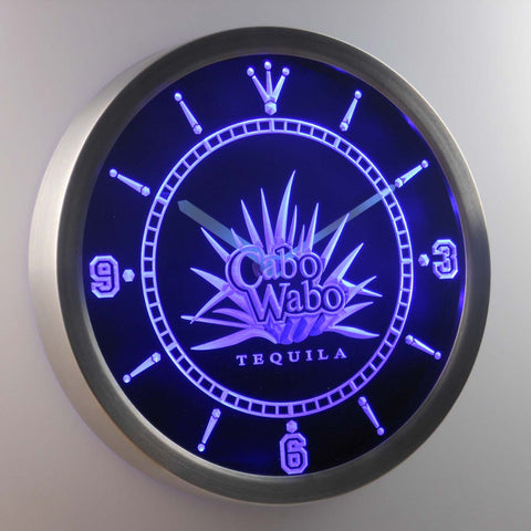 Cabo Wabo Tequila LED Neon Wall Clock - Blue - SafeSpecial