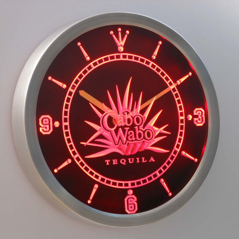 Cabo Wabo Tequila LED Neon Wall Clock - Red - SafeSpecial