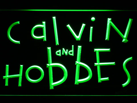 Calvin and Hobbes LED Neon Sign - Green - SafeSpecial