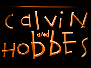 Calvin and Hobbes LED Neon Sign - Orange - SafeSpecial