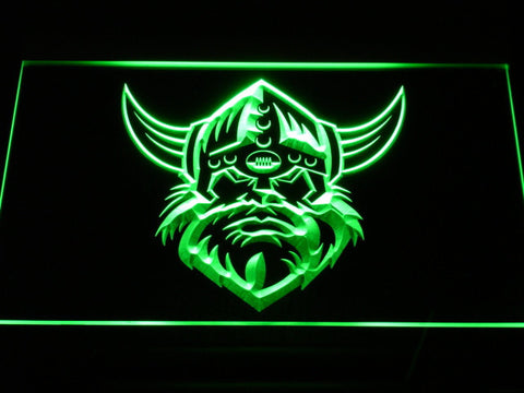 Image of Canberra Raiders Head LED Neon Sign - Green - SafeSpecial