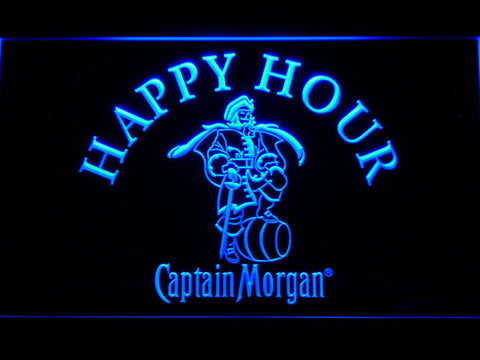 Captain Morgan Happy Hour LED Neon Sign - Blue - SafeSpecial