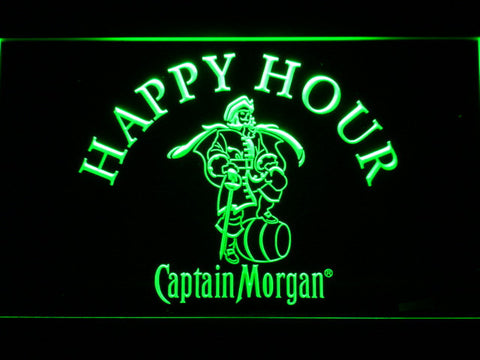 Captain Morgan Happy Hour LED Neon Sign - Green - SafeSpecial