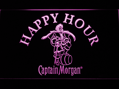 Captain Morgan Happy Hour LED Neon Sign - Purple - SafeSpecial