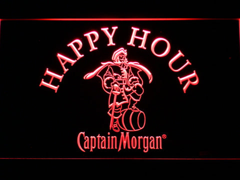 Captain Morgan Happy Hour LED Neon Sign - Red - SafeSpecial