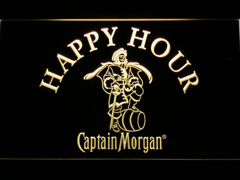 Captain Morgan Happy Hour LED Neon Sign - Yellow - SafeSpecial