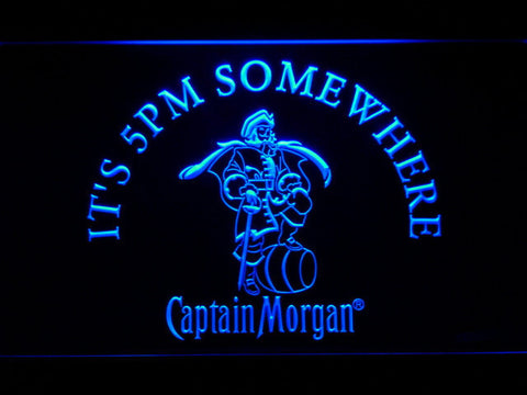 Image of Captain Morgan It's 5pm Somewhere LED Neon Sign - Blue - SafeSpecial